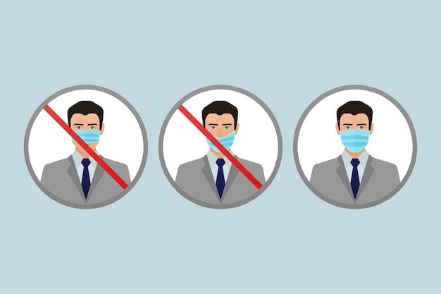 Prevención de la pandemia de coronavirus. icono de máscara médica. protección contra el coronavirus .