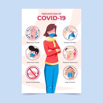 Prevención de plantilla de póster de coronavirus