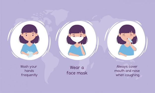Prevención de virus coronavirus, lavarse las manos, usar máscara, cubrirse la boca y la nariz
