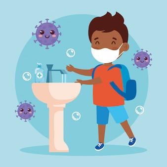 Prevenir covid 19, usar máscara médica, lavarse las manos, niño afro con máscara protectora