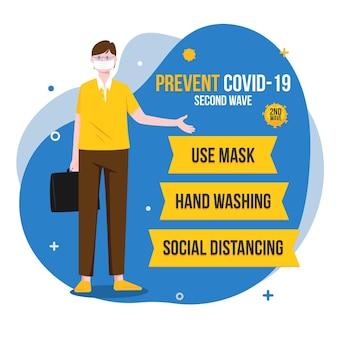 Prevenir la ilustración de la segunda ola del coronavirus