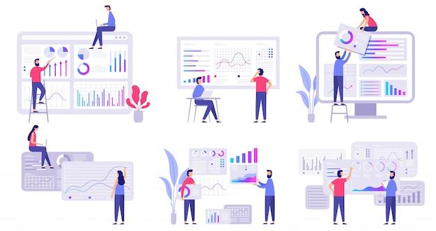 Previsión del mercado. análisis de tendencias, estrategia de marketing empresarial y conjunto de ilustración de pronóstico de mercado