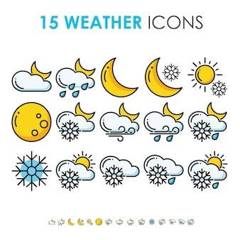Previsión meteorológica y recopilación del clima en el conjunto de iconos de línea gruesa