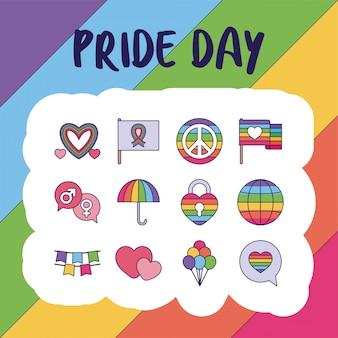Pride day y lgtbi llenan el conjunto de iconos de estilo