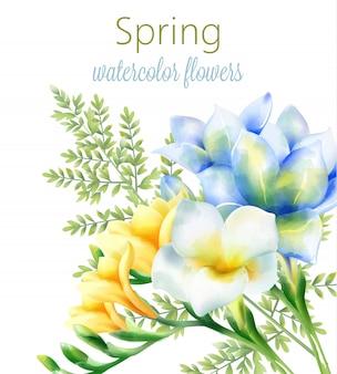 Primavera acuarela orquídea flores azules, amarillas y blancas con hojas verdes