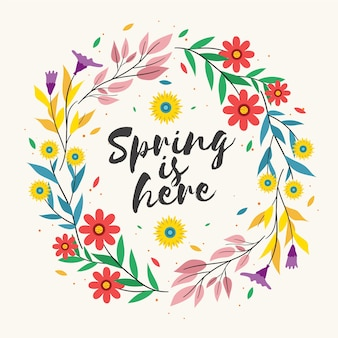 La primavera está aquí letras en marco floral colorido