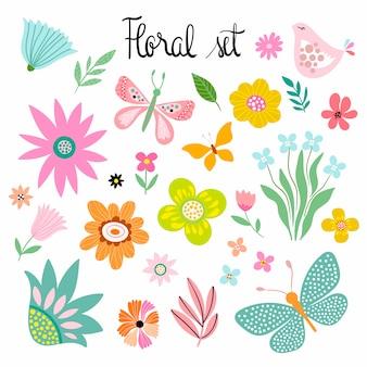 Primavera - colección de verano con flores decorativas dibujadas a mano, mariposas y pájaros