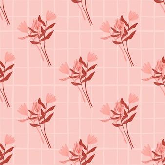 Primavera doodle de patrones sin fisuras con adorno de ramo de flores. obra de arte estilizada en tonos rosados y rojos.