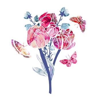 Primavera flores abstractas ramo alcohol tinta textura
