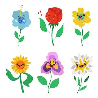 Primavera flores personajes con lindo conjunto de dibujos animados de emociones aislado en un fondo blanco.