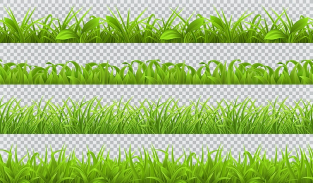 Primavera de hierba verde, seamlessattern. conjunto realista 3d