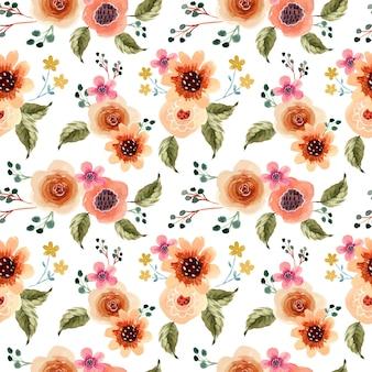 Primavera lindo floral acuarela de patrones sin fisuras