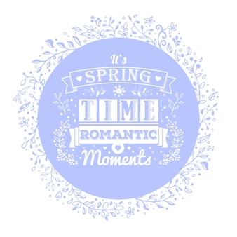 Primavera o verano fondo azul con flores y adornos.