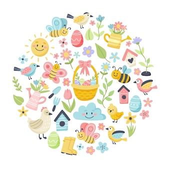 Primavera de pascua con lindos huevos, pájaros, abejas, mariposas. elementos de dibujos animados planos dibujados a mano en marco circular.