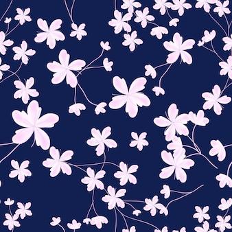 Primavera sreamless patrón con flor de cerezo rosa