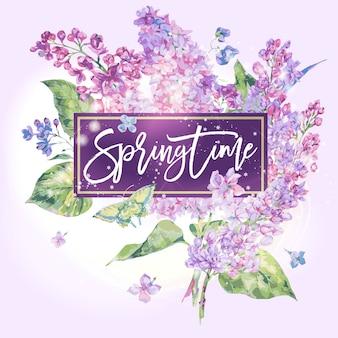 Primavera. tarjeta de felicitación de primavera floral de lila