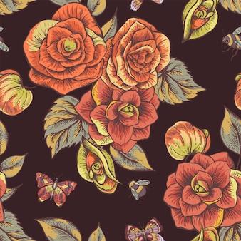 Primavera vintage de patrones sin fisuras con flores de begonia