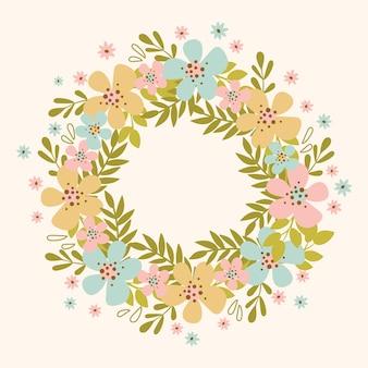 Primavera wreath ilustración de diseño plano dibujado a mano