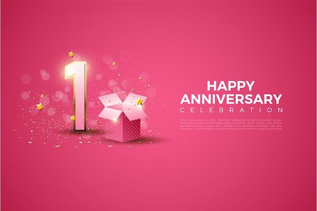 Primer aniversario con ilustración de número y caja de regalo sobre fondo rosa.