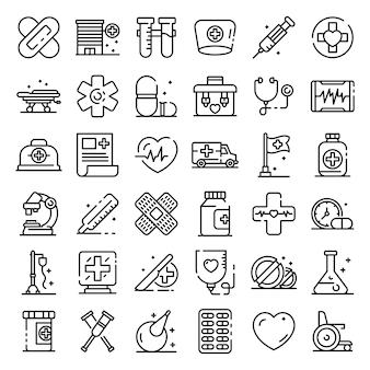Primer conjunto de iconos de ayuda médica, estilo de contorno