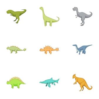 Primer conjunto de iconos de dinosaurios, estilo de dibujos animados