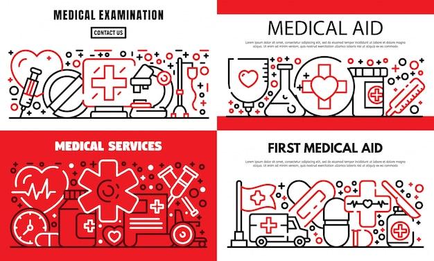 Primer conjunto de pancartas de ayuda médica, estilo de contorno
