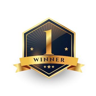 Primer lugar ganador número uno diseño de etiqueta dorada.