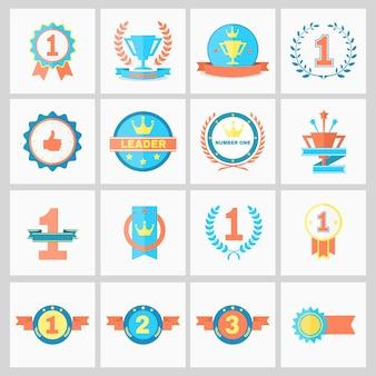 Primer lugar insignias y cintas de ganador ilustración vectorial