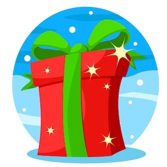 Primer plano de la caja de regalo sobre un fondo de invierno. navidad