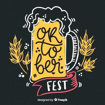 Primer plano de cerveza de barril oktoberfest dibujado a mano