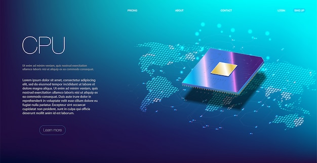Primer plano de la cpu para web. procesador de comunicaciones integrado.
