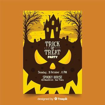 Primer plano curvas de calabaza cartel del partido de halloween