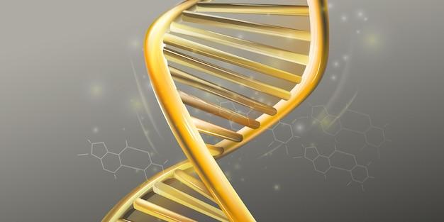 Primer plano de la estructura de doble hélice dorada del adn