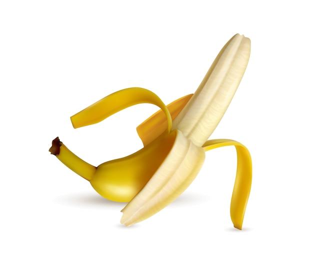Primer plano de plátano maduro medio pelado apetitosa imagen realista sombra de luz blanca