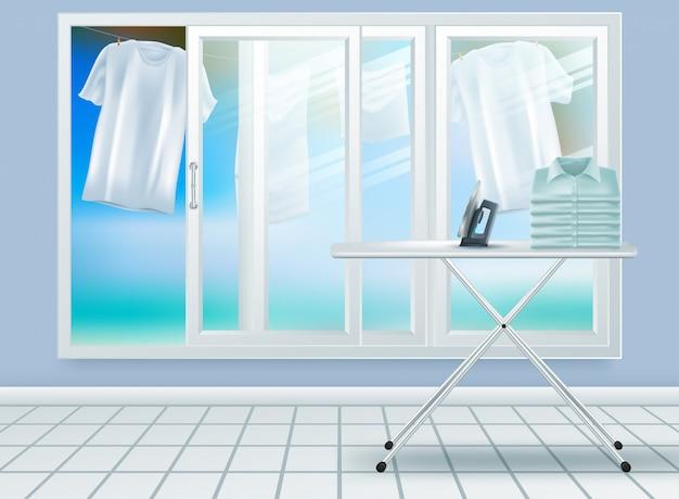 Primer plano realista moderno de la lavadora de acero blanco