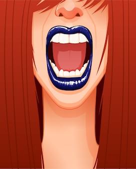 Primer plano del rostro de mujer gritando con labios azules y boca abierta. ilustración