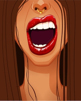 Primer plano del rostro de la mujer con hermosos labios rojos llenos y boca abierta. ilustración