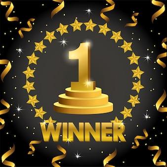 Primer premio con estrellas y confeti para la celebración del campeón.