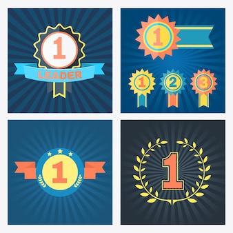 Primer segundo y tercer lugar premios vectoriales con rosetones, cintas, pancartas y corona con los números 1, 2 y 3