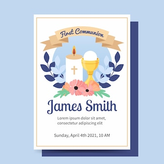 Primera comunión para plantilla de invitación de niño. diseño plano de estilo de dibujos animados de sacramento y vela.