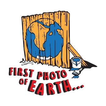 Primera foto de la ilustración del cartel de la tierra con pintura de la tierra sobre el diseño de la cerca de madera
