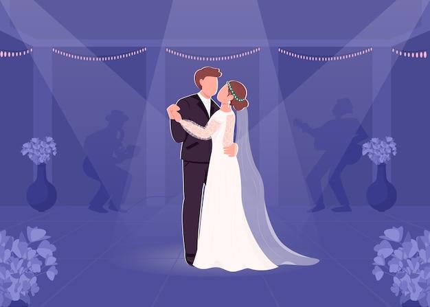 Primera novia y el novio bailan ilustración de color plano