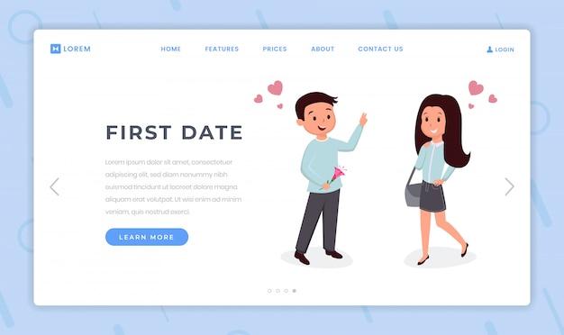 Primera plantilla plana de página de destino de fecha. página de inicio del sitio web de citas para niños y niñas