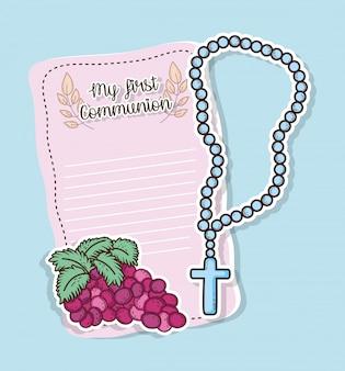 Primera tarjeta de comunión con uvas y rosario.