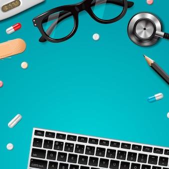 Primeros auxilios y diagnóstico, asistencia sanitaria, investigación médica y terapia. ilustración vectorial