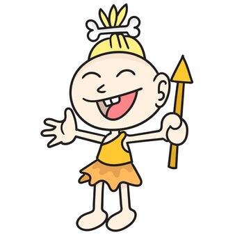 Los primeros seres humanos se ríen felizmente, imagen de icono de doodle personaje de dibujos animados lindo doodle dibujar