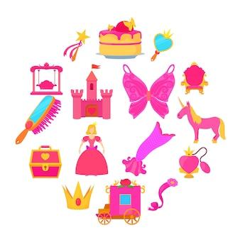 Princesa accesorios conjunto de iconos, estilo de dibujos animados