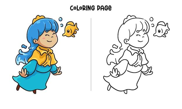 Princesa azul con un pececito