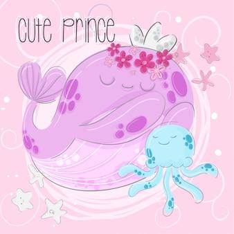 Princesa ballena linda mano dibujar ilustración