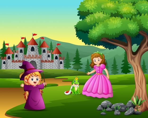 Princesa, brujita y príncipe rana en el camino.